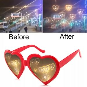 Heart Shaped Novelty Light Effects Sunglasses Red
